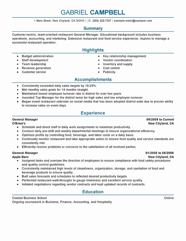 Restaurant General Manager Resumes Unique Restaurant General Manager Resume Examples Free to Try