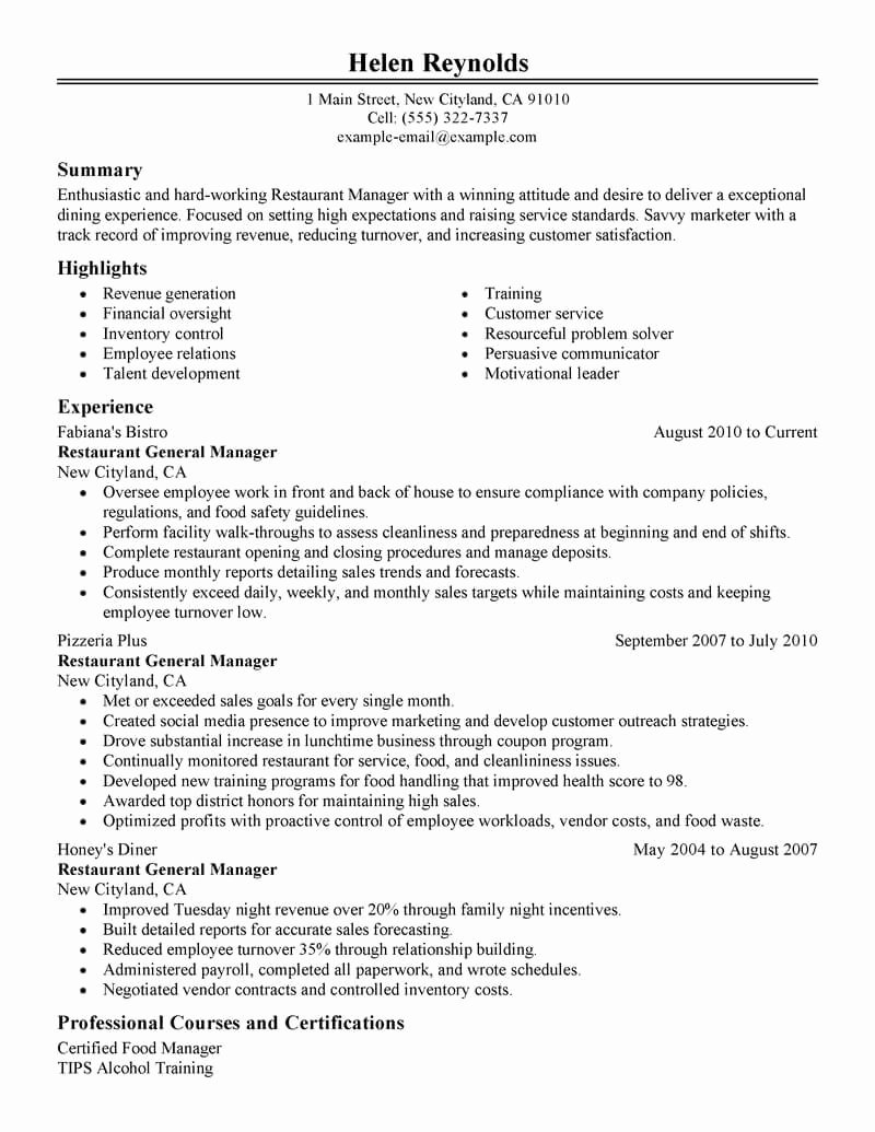 Restaurant Manager Resume Examples Awesome Best Restaurant Manager Resume Example