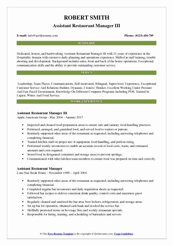 Restaurant Manager Resume Examples Beautiful assistant Restaurant Manager Resume Samples