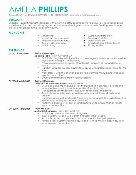 Restaurant Manager Resume Examples Beautiful Best Restaurant assistant Manager Resume Example