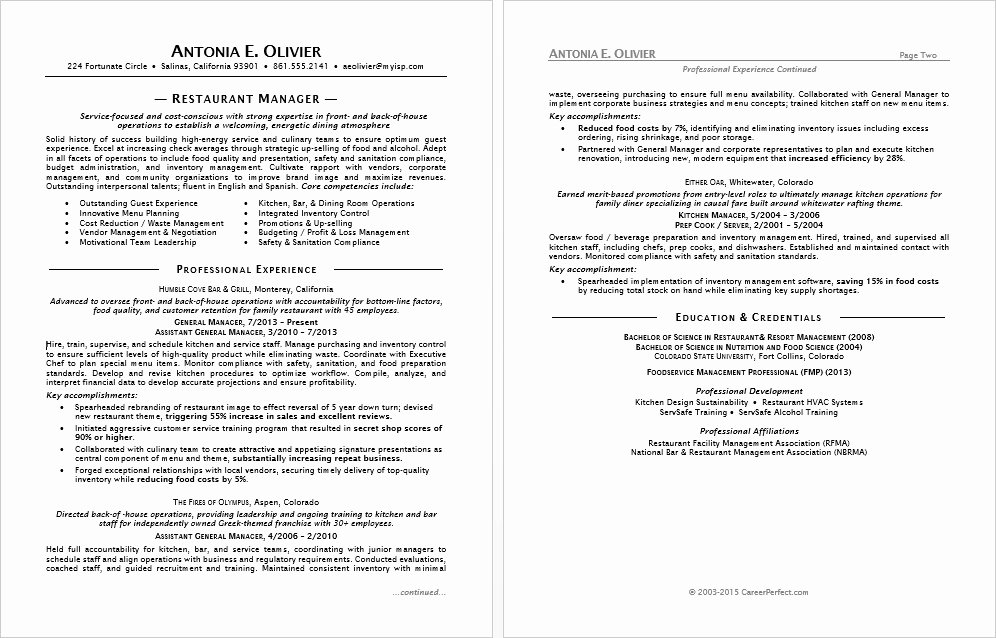 Restaurant Manager Resume Examples Beautiful Restaurant Manager Resume Sample