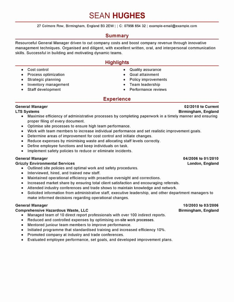 Restaurant Manager Resume Examples Best Of Best General Manager Resume Example
