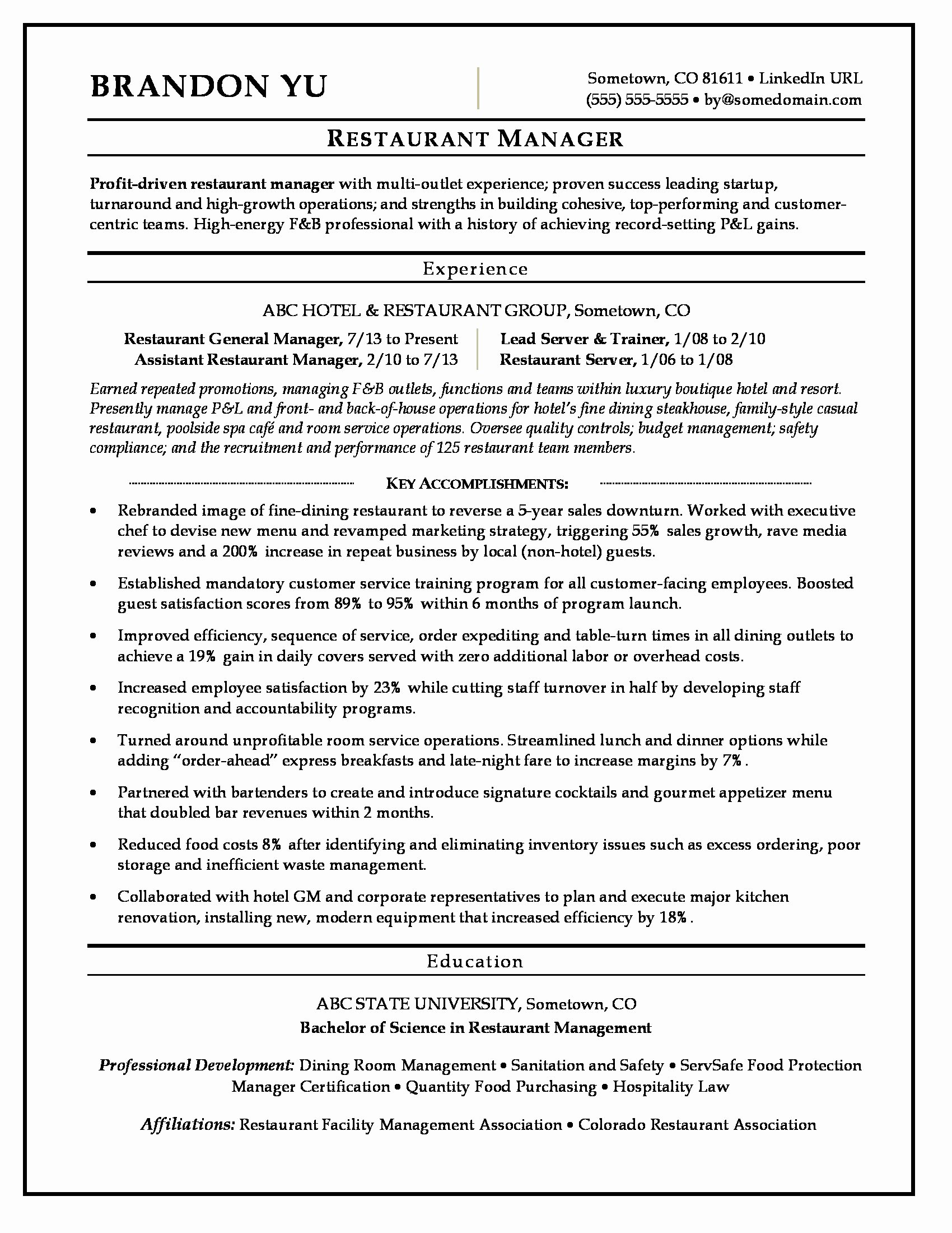 Restaurant Manager Resume Examples Best Of Restaurant Manager Resume Sample