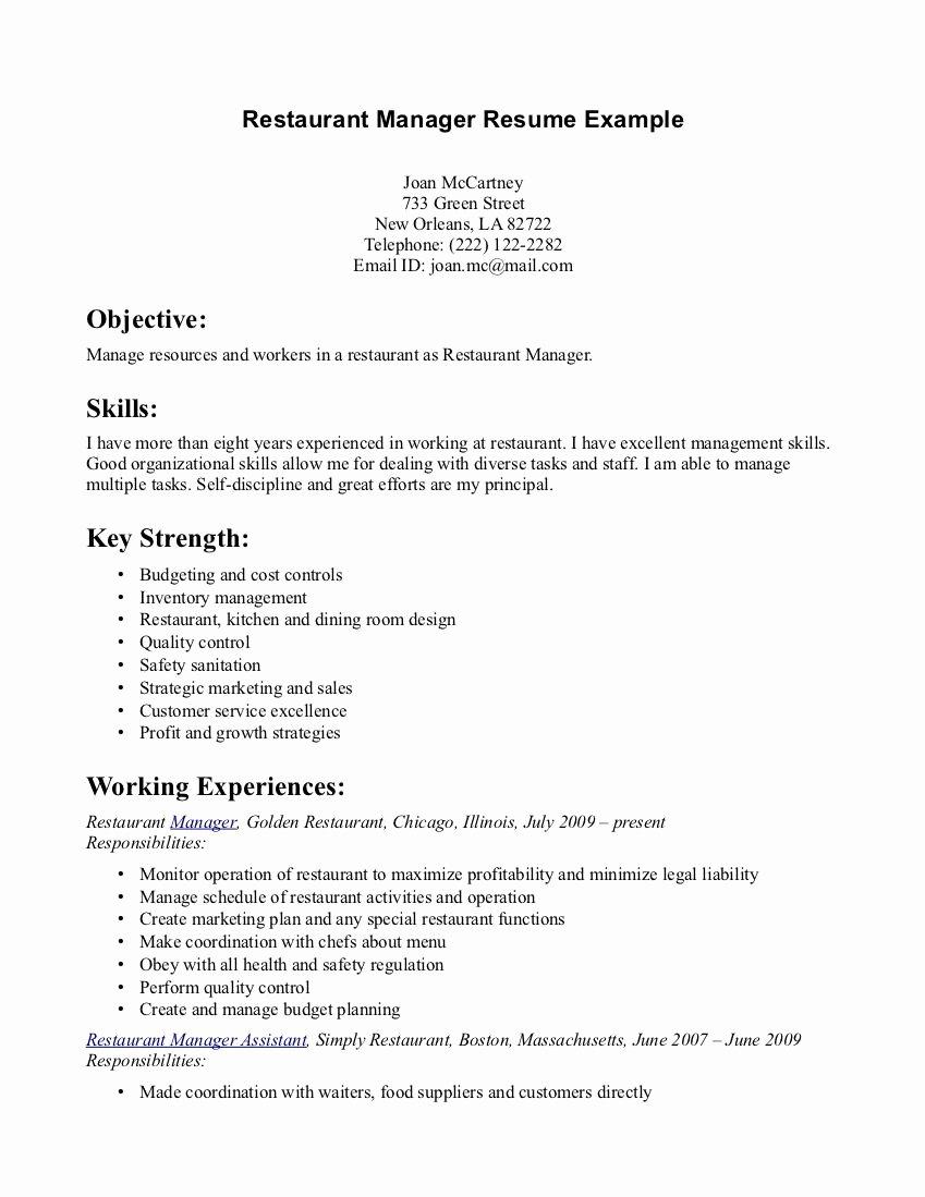 Restaurant Manager Resume Examples Fresh Restaurant Manager Resume Example