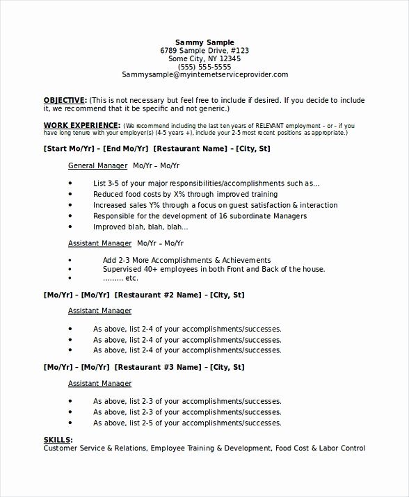 Restaurant Manager Resume Examples Inspirational Restaurant Manager Resume