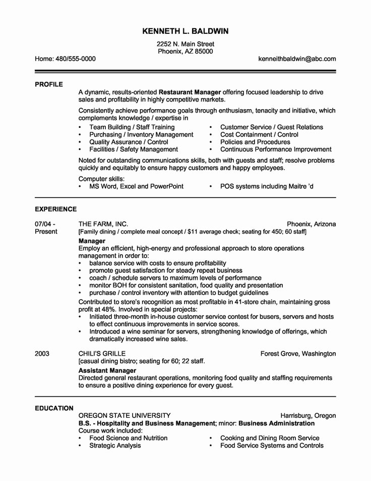 Restaurant Manager Resume Examples Inspirational Restaurant Manager Resume Sample O