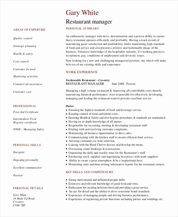 Restaurant Manager Resume Examples Inspirational Restaurant Manager Resume Template 6 Free Word Pdf