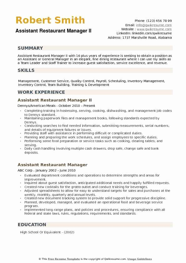 Restaurant Manager Resume Examples Luxury assistant Restaurant Manager Resume Samples