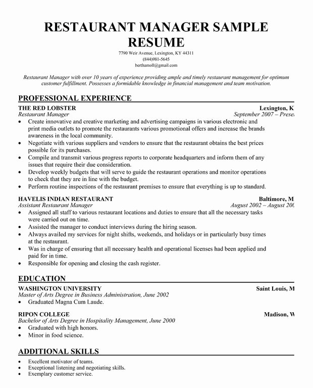 Restaurant Manager Resume Examples Luxury Restaurant Manager Resume Template