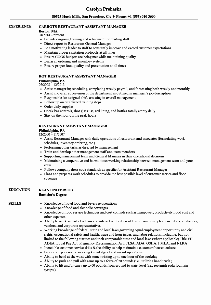 Restaurant Manager Resume Examples New Restaurant assistant Manager Resume Samples