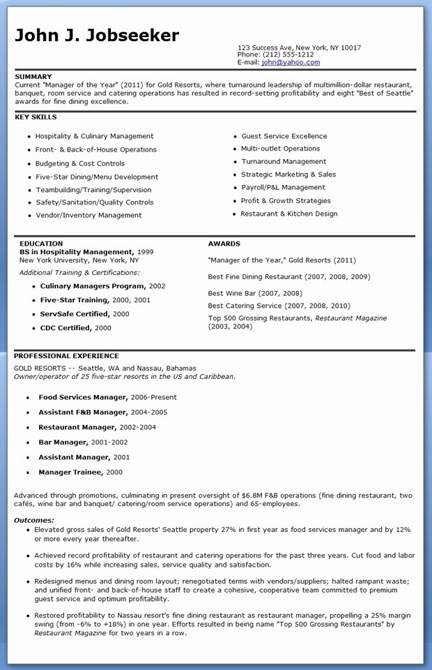 Restaurant Manager Resume Examples Unique Restaurant Manager Resume Sample Free