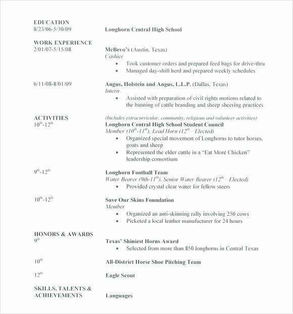 Resume Examples for Highschool Students Best Of Free 6 Sample High School Resume Templates In Pdf