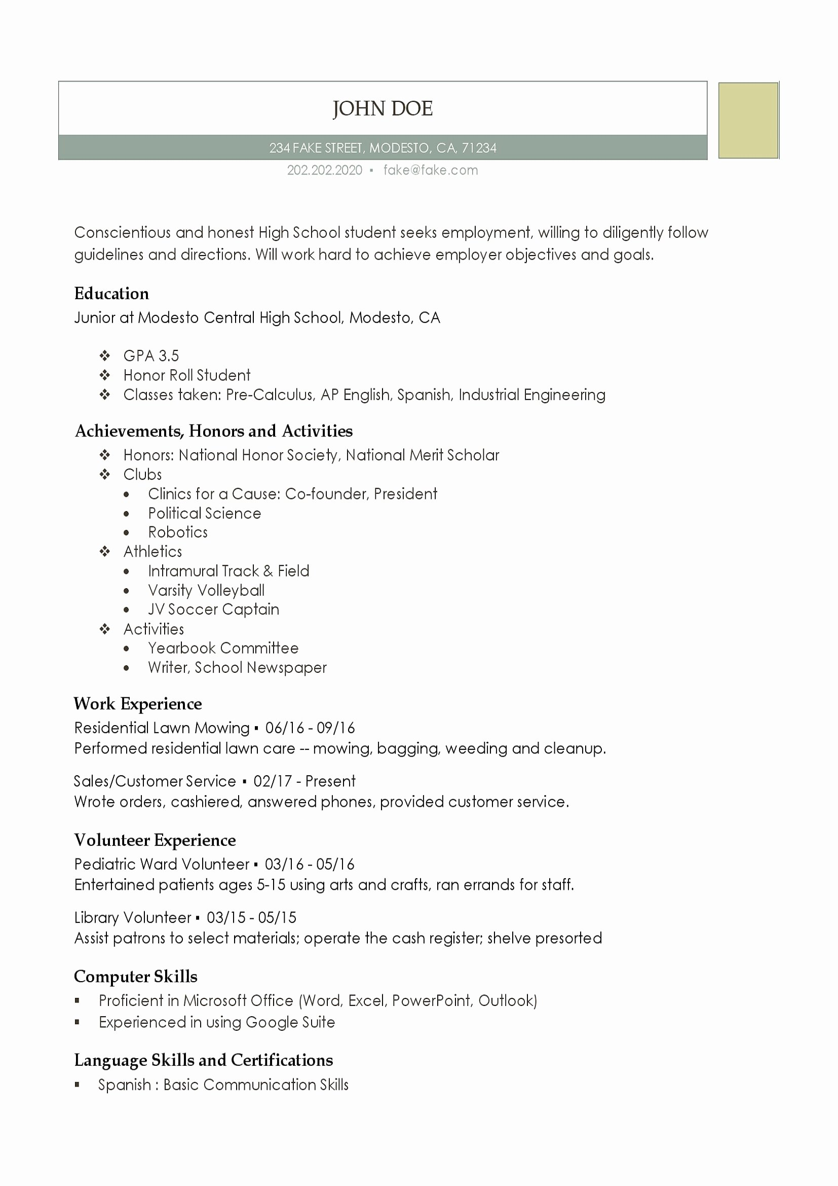 Resume Examples for Highschool Students Best Of High School Resume Resumes Perfect for High School Students