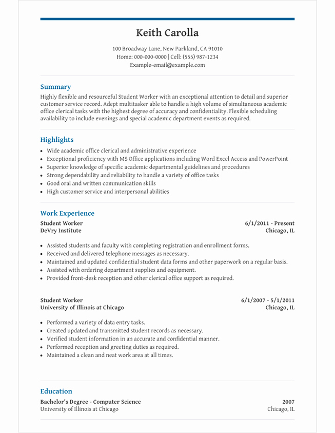 Resume Examples for Highschool Students Elegant High School Student Resume Template for Microsoft Word