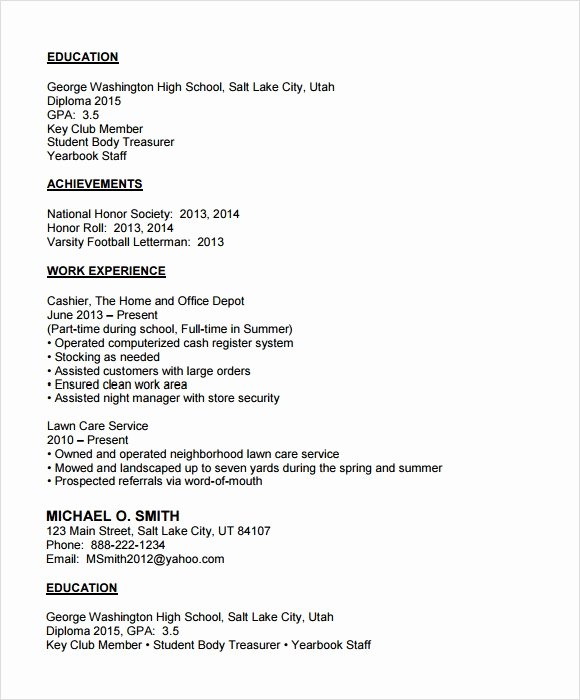 Resume Examples for Highschool Students Inspirational Free 6 Sample College Resumes In Pdf Psd