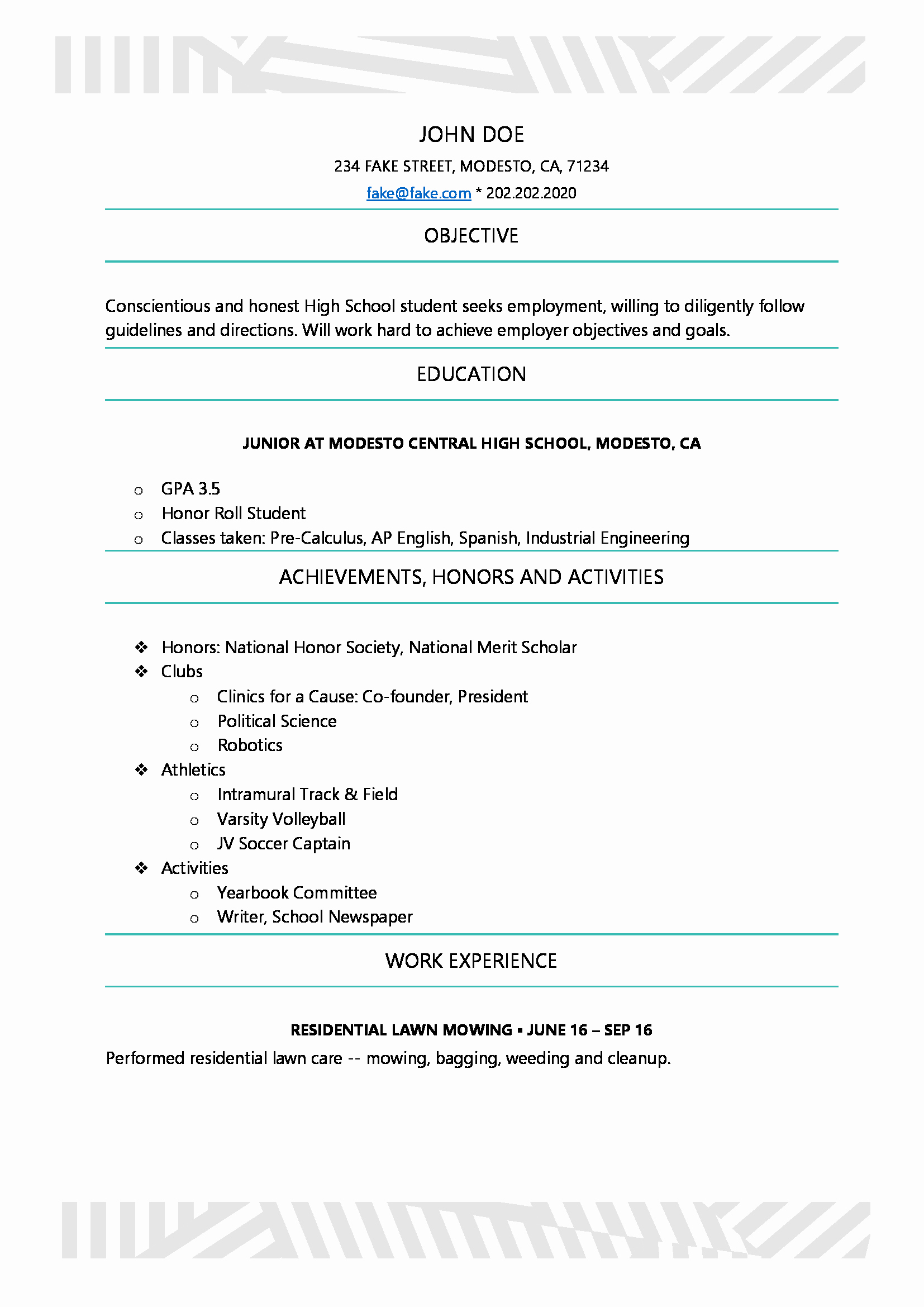 Resume Examples for Highschool Students Lovely High School Resume Resumes Perfect for High School Students