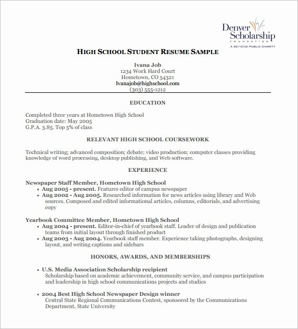 Resume Examples for Highschool Students Lovely High School Student Resume Template