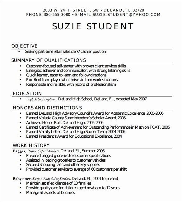 Resume Examples for Highschool Students Luxury Free 6 Sample High School Resume Templates In Pdf