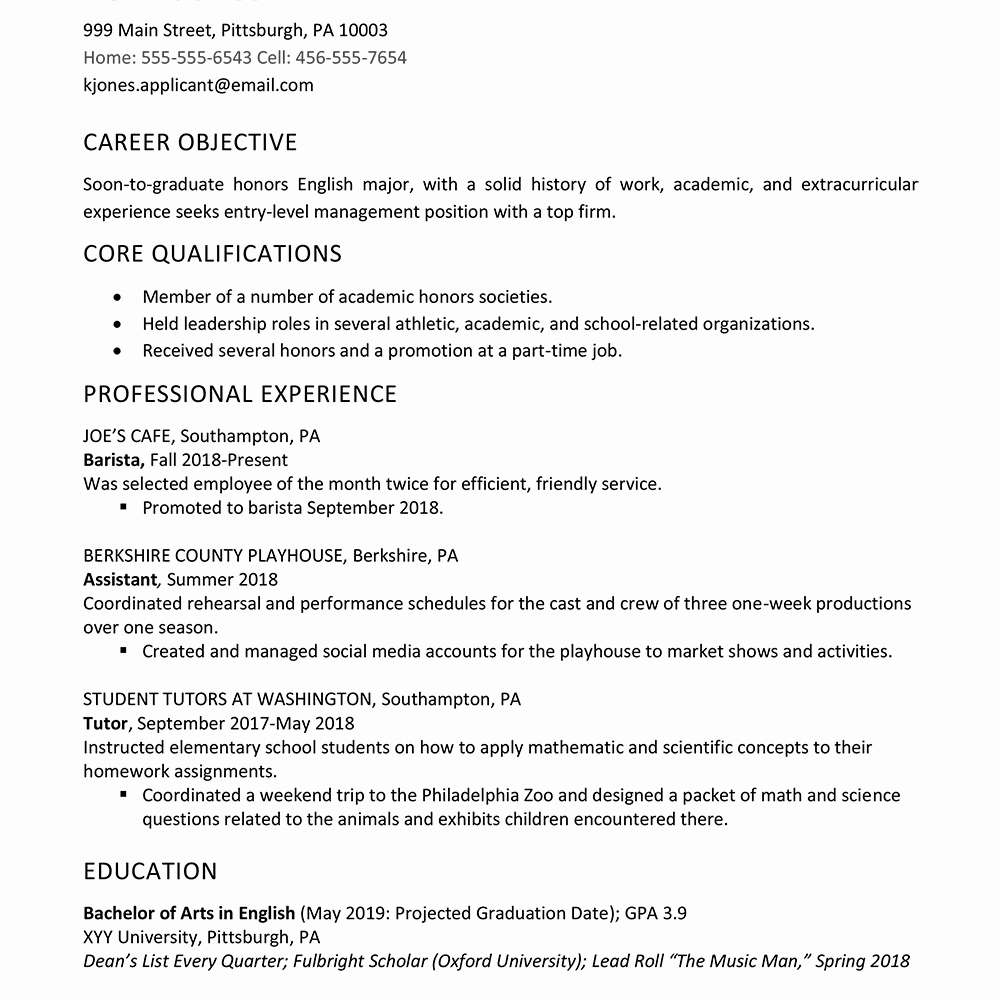 Resume Examples for Highschool Students New High School Graduate Resume Example Work Experience