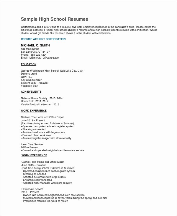 Resume Examples for Highschool Students Unique High School Resume Example 8 Samples In Word Pdf