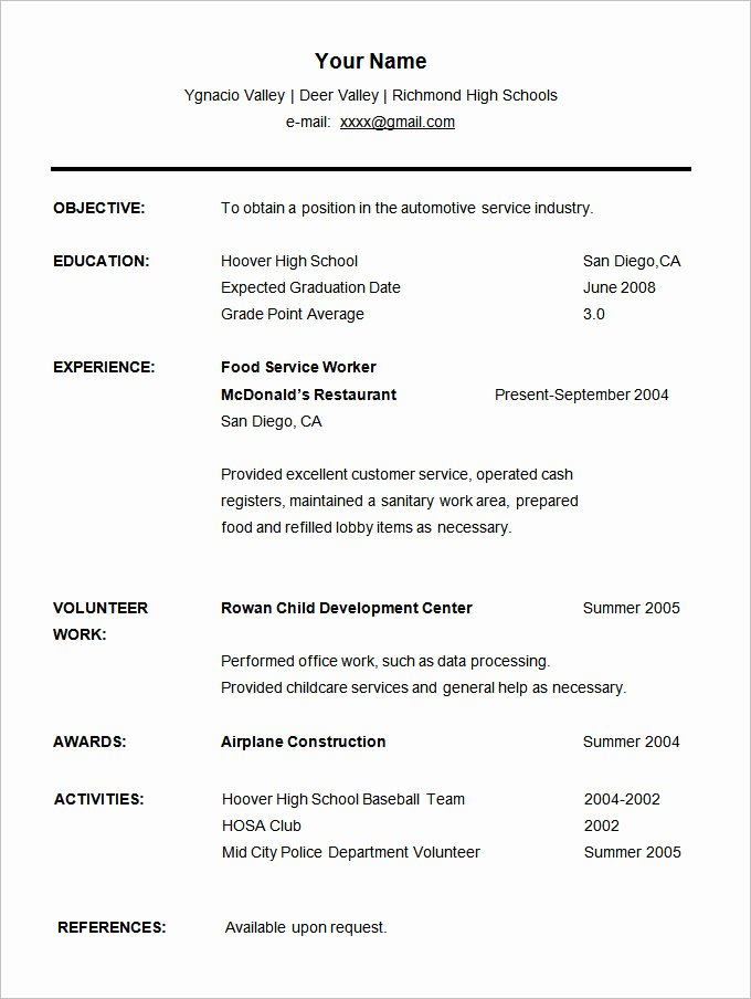 Resume High School Student Beautiful 24 Student Resume Templates Pdf Doc