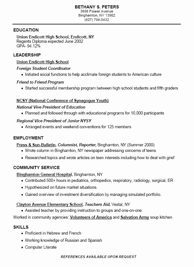 Resume High School Student Best Of High School Student Resume Example
