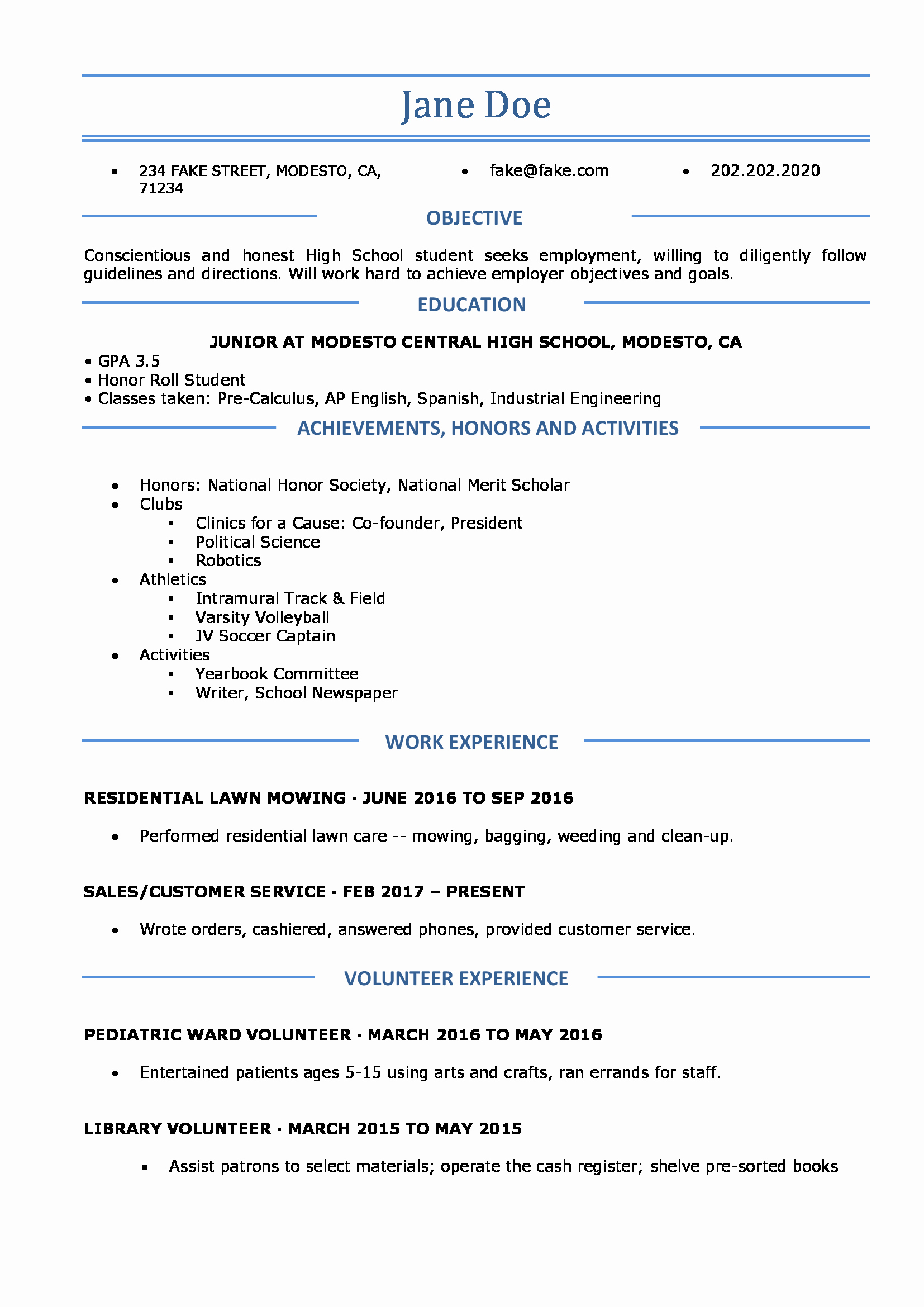 Resume High School Student Elegant High School Resume Resumes Perfect for High School Students