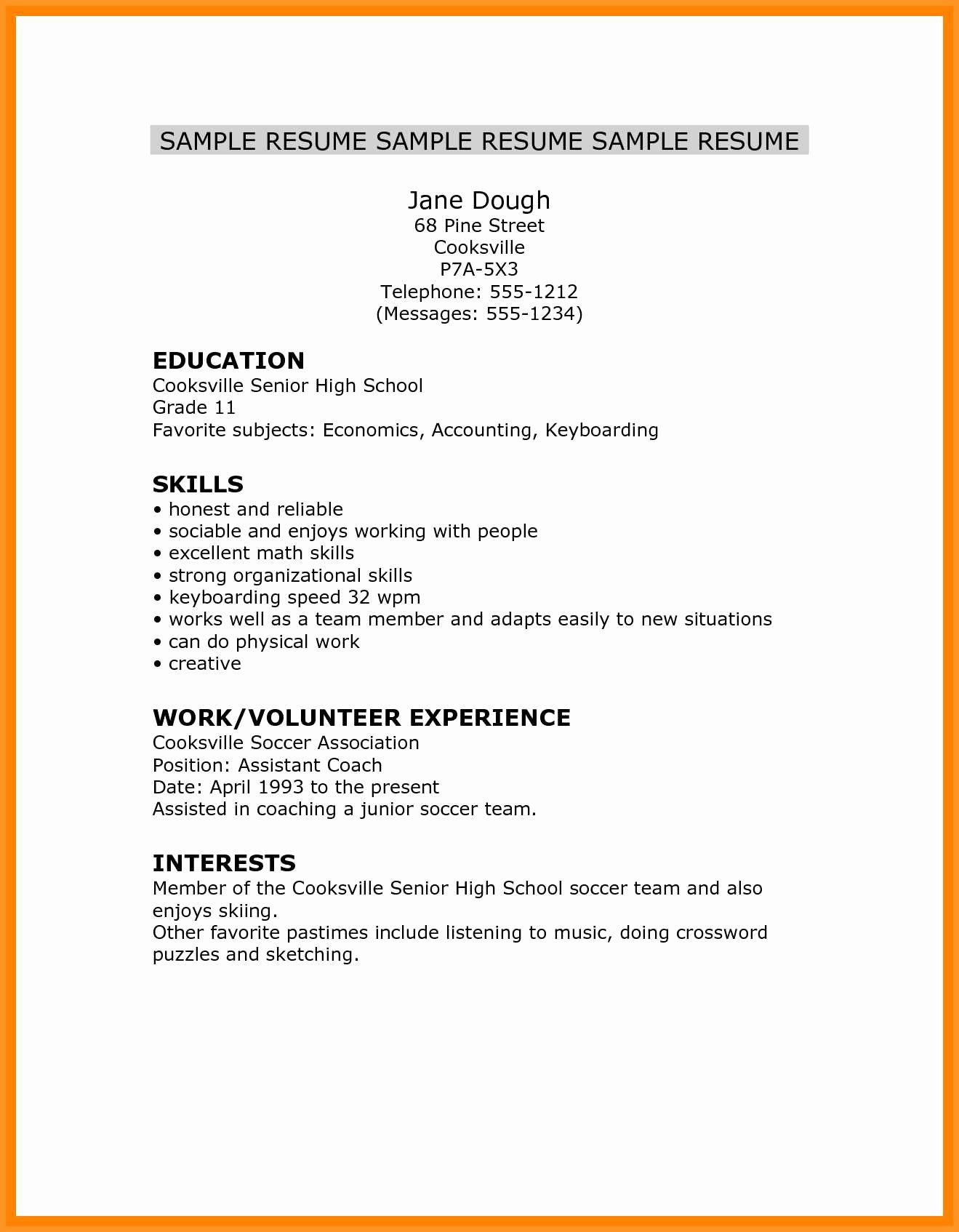 Resume High School Student Fresh 14 15 High School Student Resume Skills