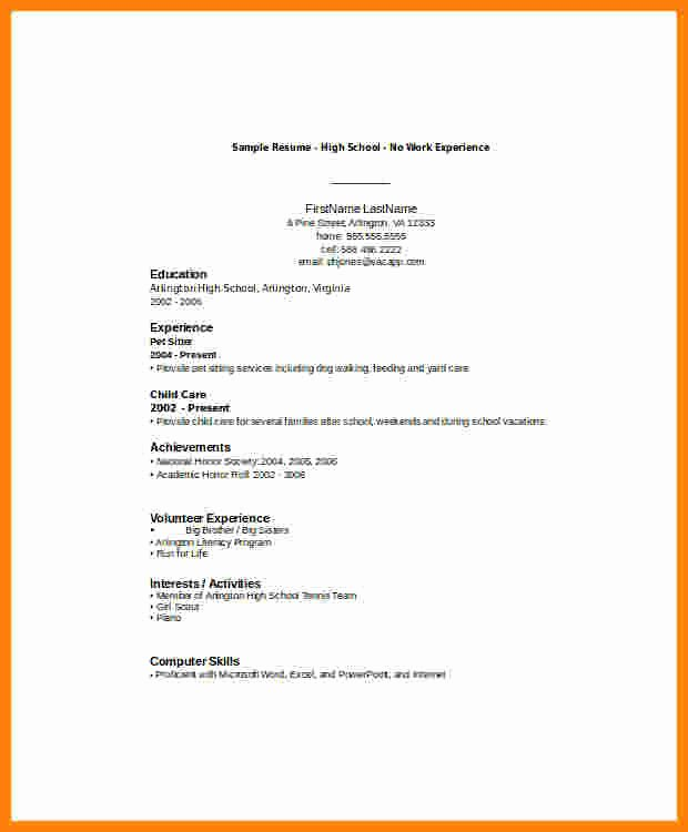 Resume High School Student Lovely 6 Cv Samples for Students with No Experience Pdf