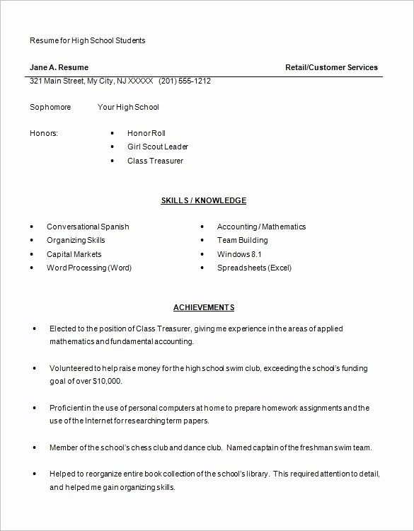Resume High School Student Luxury High School Resume Template 9 Free Word Excel Pdf