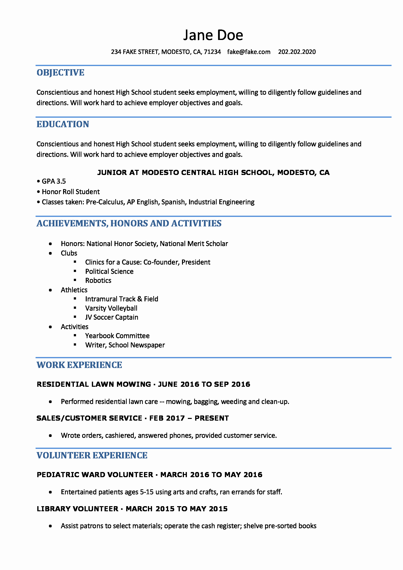 Resume High School Student New High School Resume High School Resume Templates