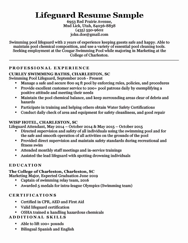 Resume Samples for College Student Awesome Lifeguard Resume Sample & Writing Tips