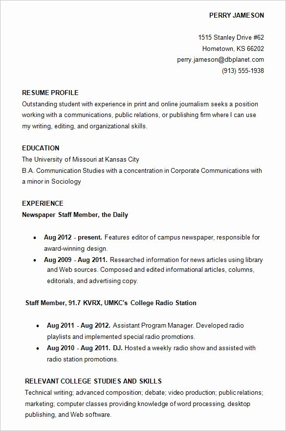 Resume Samples for College Student Best Of College Resume Examples