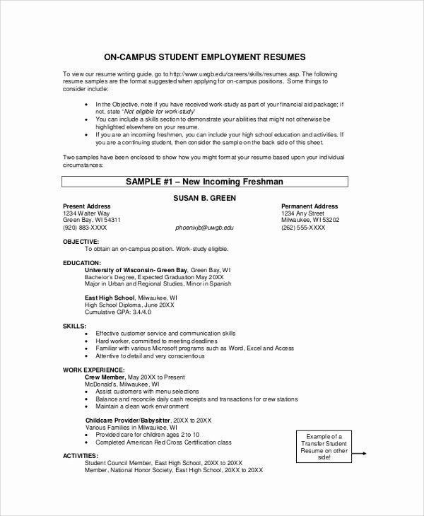 Resume Samples for College Student Elegant College Student Resume Example 9 Samples In Word Pdf