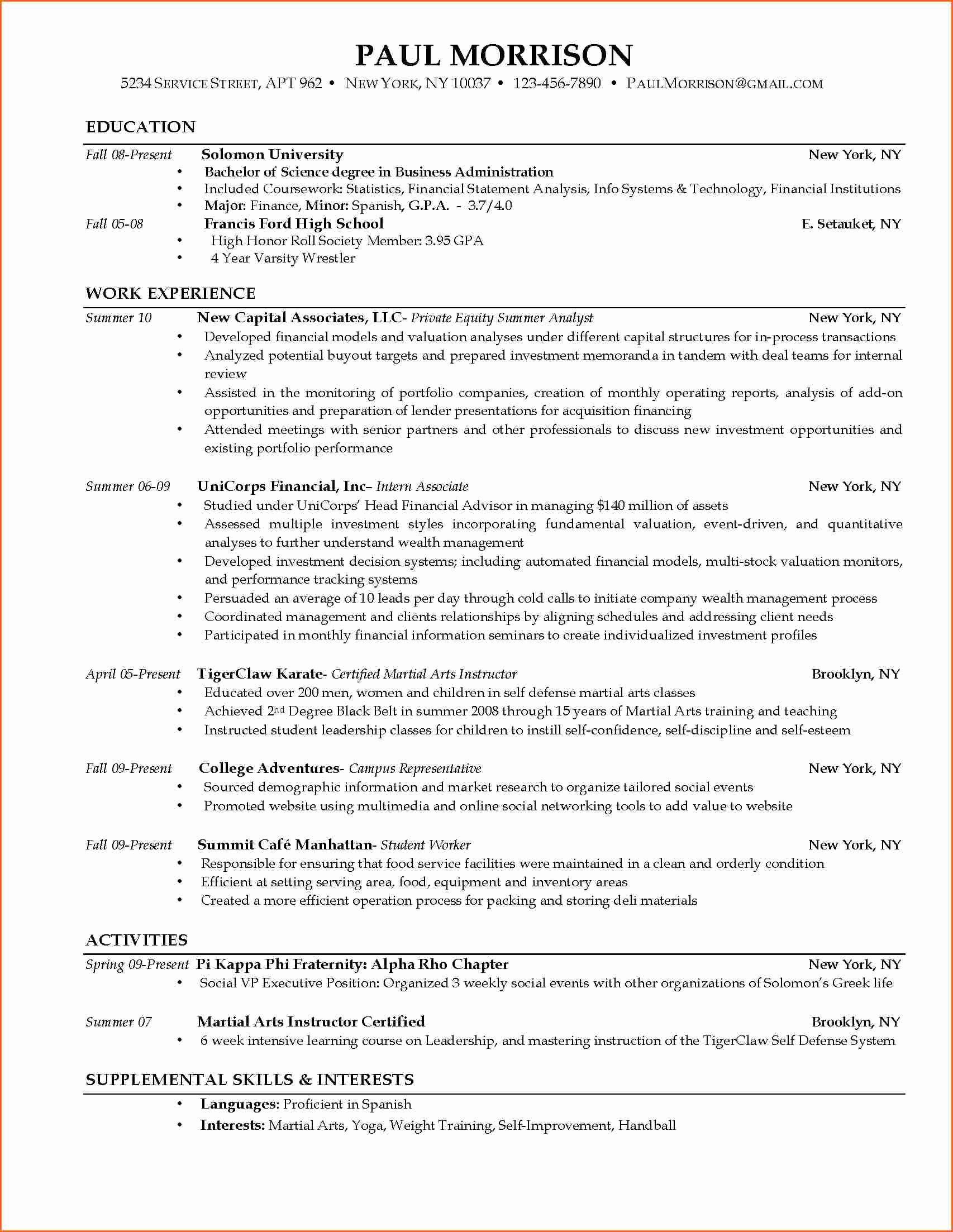 Resume Samples for College Student Elegant Current College Student Resume