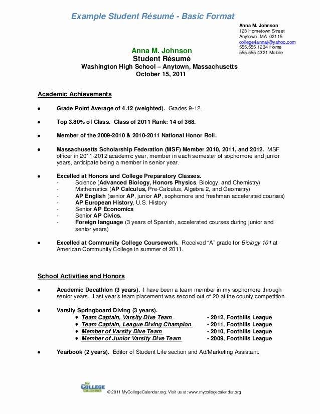 Resume Samples for College Student Elegant Student Resume format A