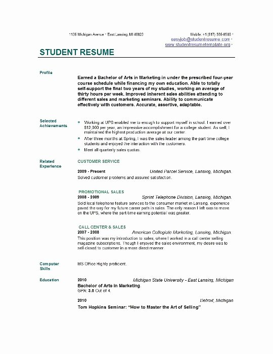 Resume Samples for College Student Elegant Student Resume Templates