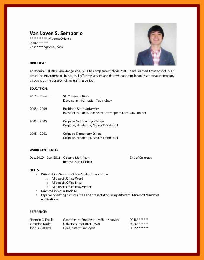 Resume Samples for College Student Lovely 12 13 Cv Samples for Students with No Experience