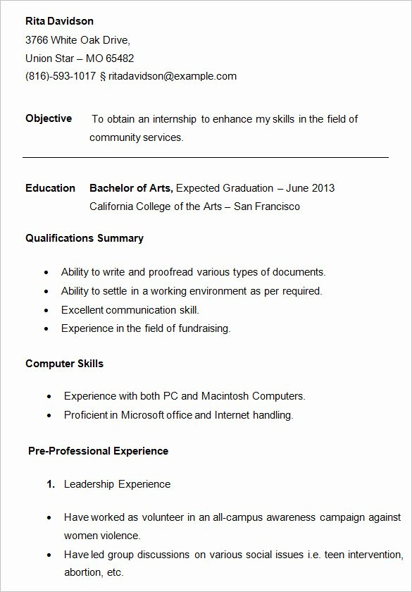 Resume Samples for College Student Lovely 24 Best Student Sample Resume Templates Wisestep