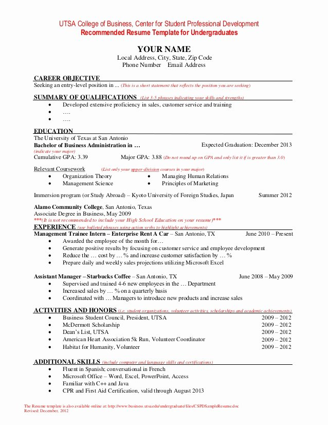 Resume Samples for College Student Lovely Resume Template for Undergraduate Students