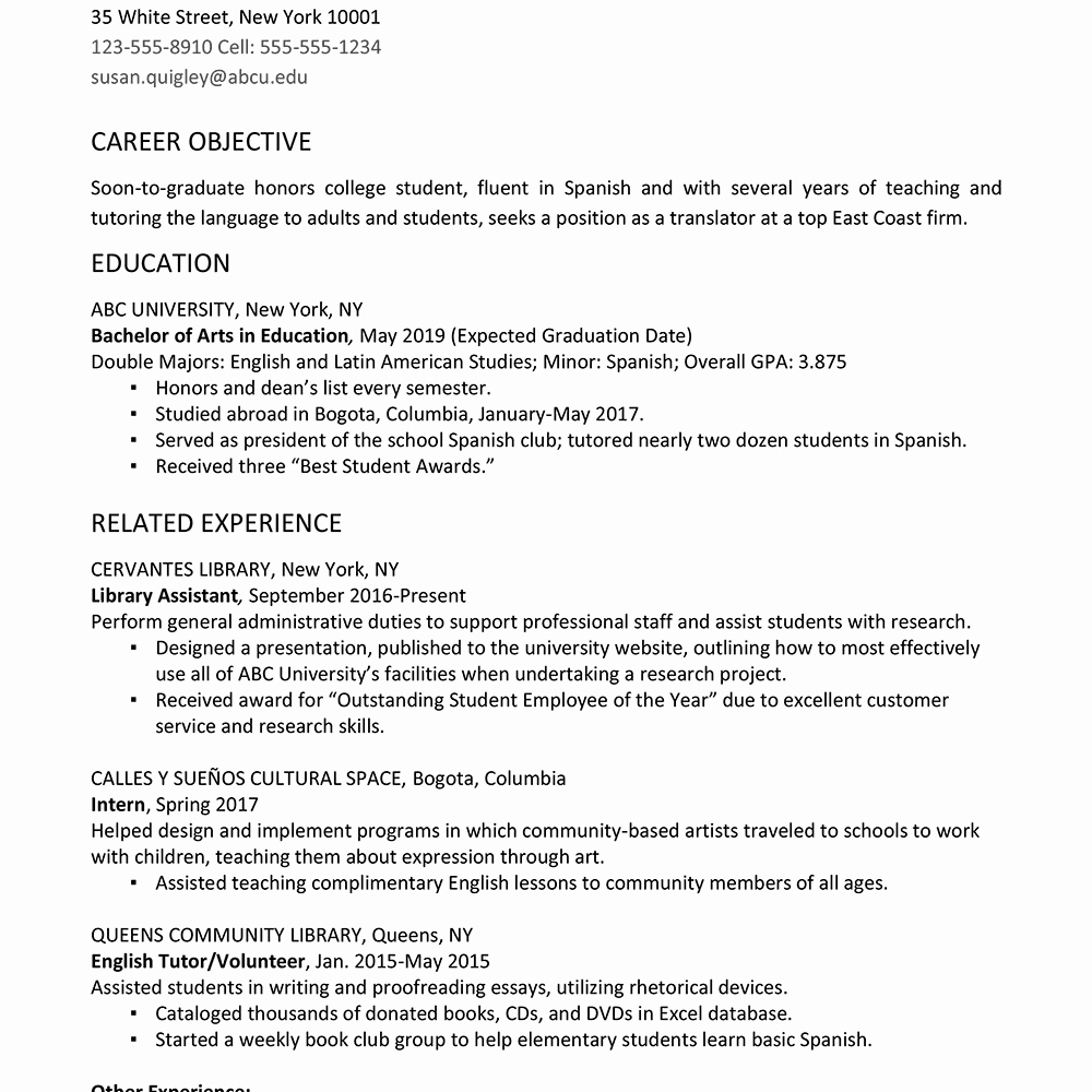 Resume Samples for College Student Luxury College Graduate Resume Example and Writing Tips