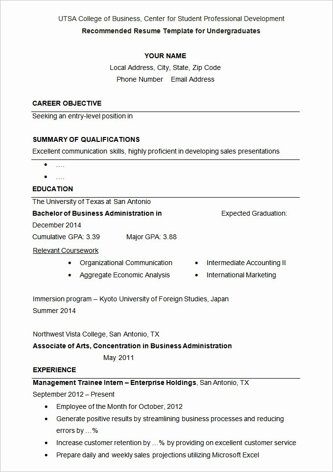 Resume Template College Student Beautiful 24 Student Resume Templates Pdf Doc