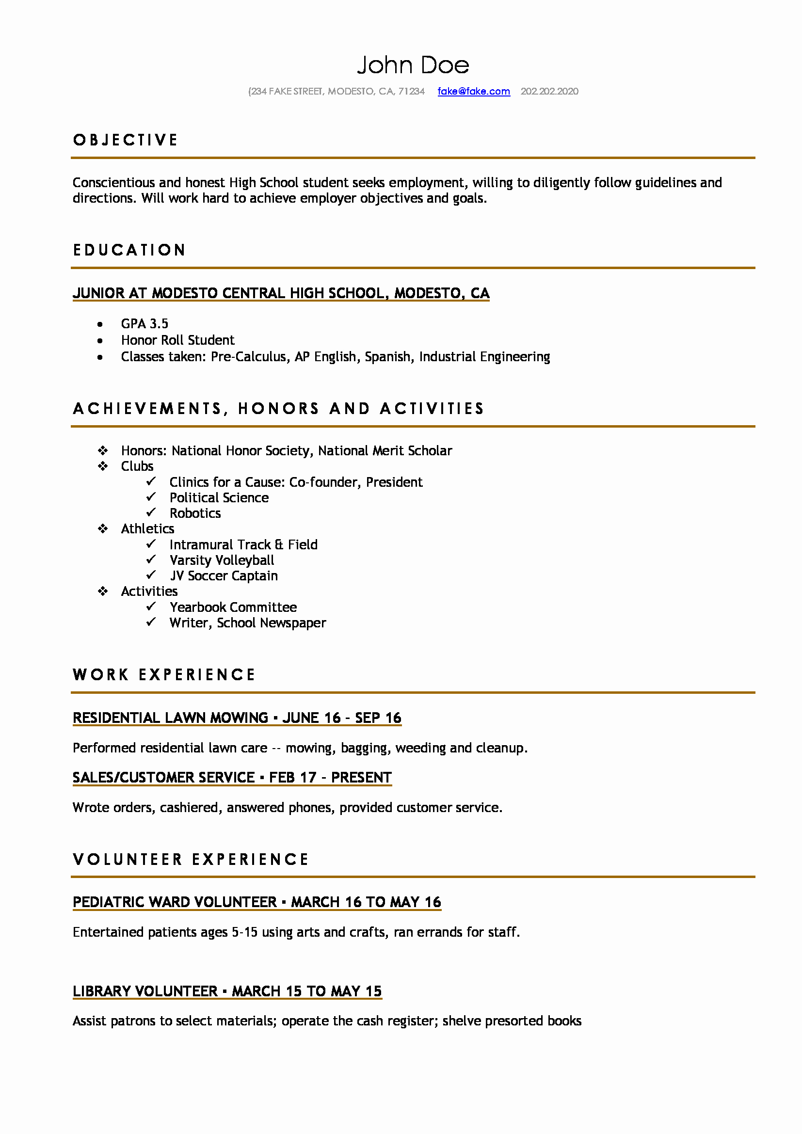 Resume Template College Student Best Of High School Resume Resumes Perfect for High School Students