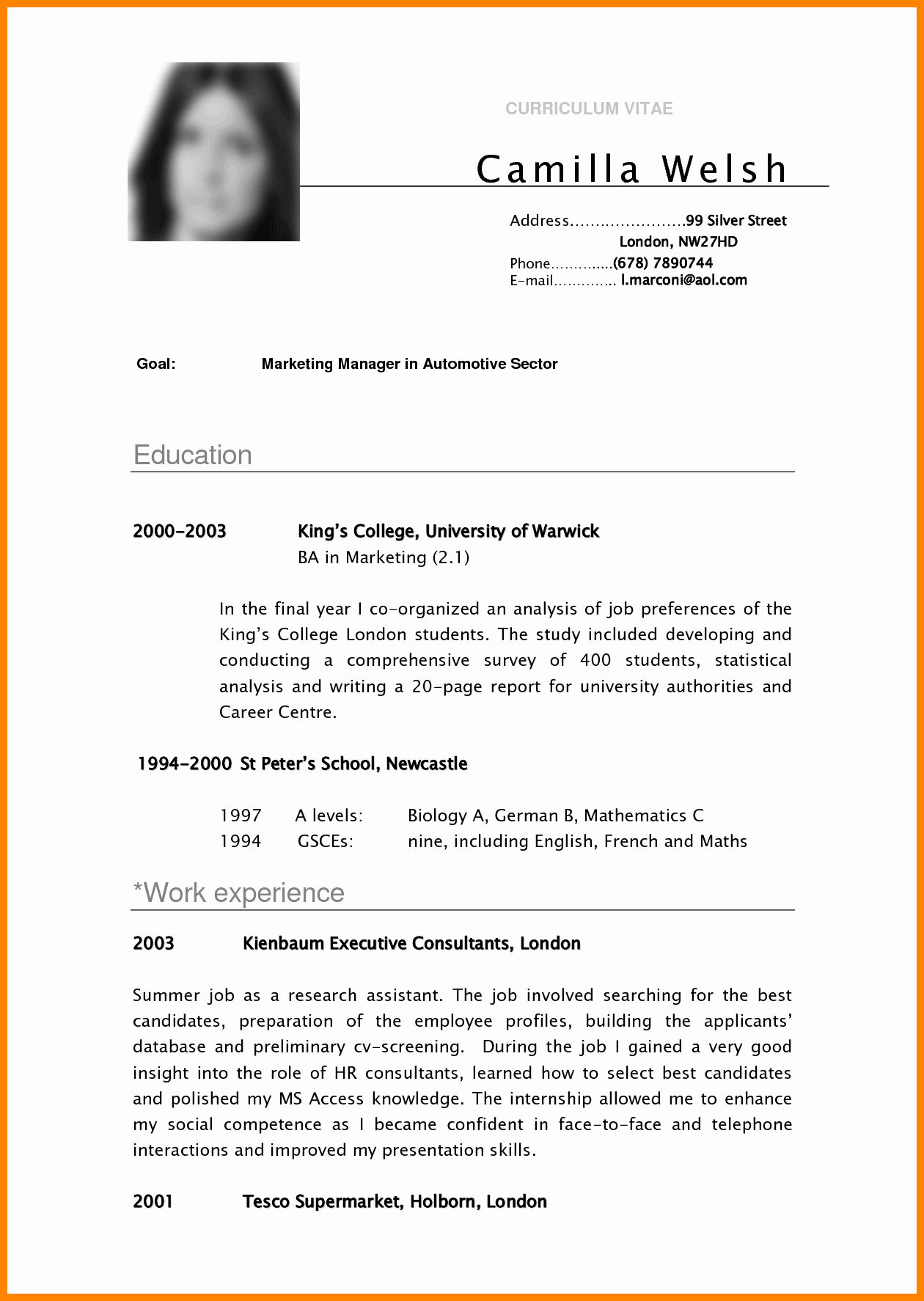 Resume Template College Student Fresh 5 Cv Samples for College Students