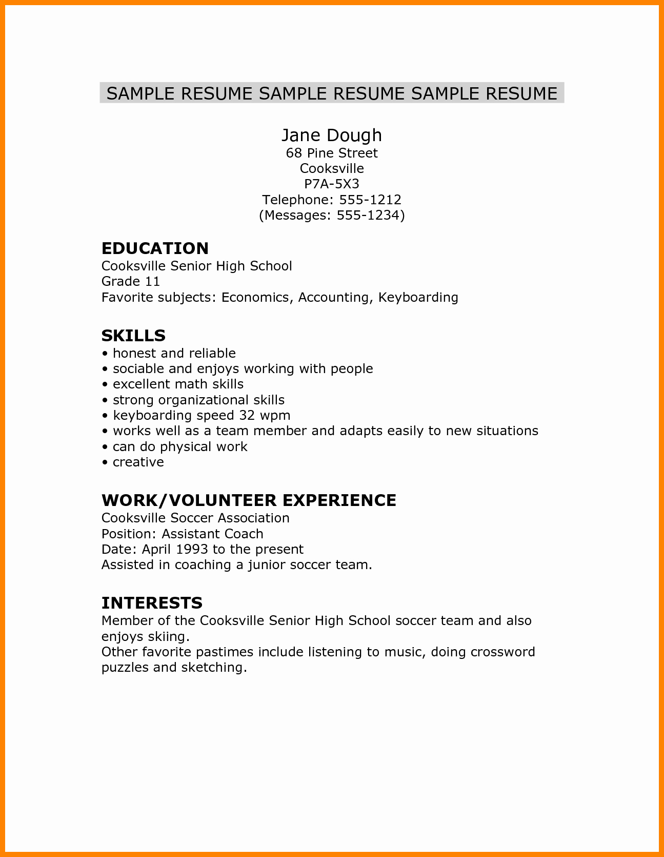 Resume Template College Student Fresh 5 Cv Template for High School Student