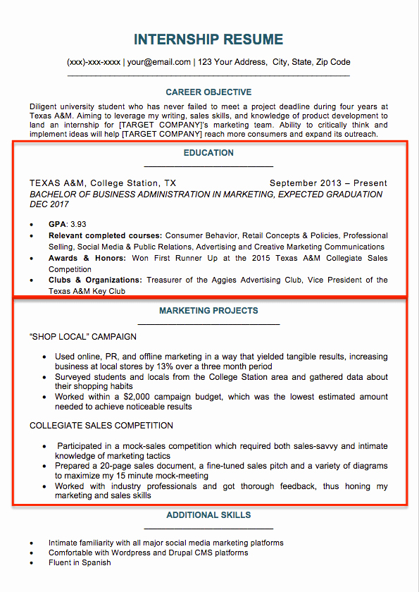 Resume Template College Student Inspirational College Student Resume Sample & Writing Tips