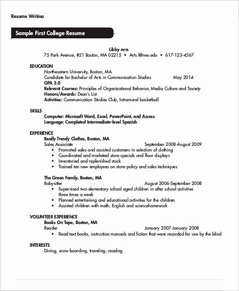 Resume Template College Student Lovely Be Skillful In Writing College Student Resume
