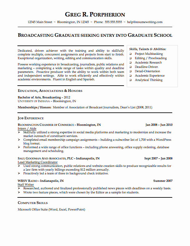 Resume Template College Student Lovely Sample Resumes Resumewriting