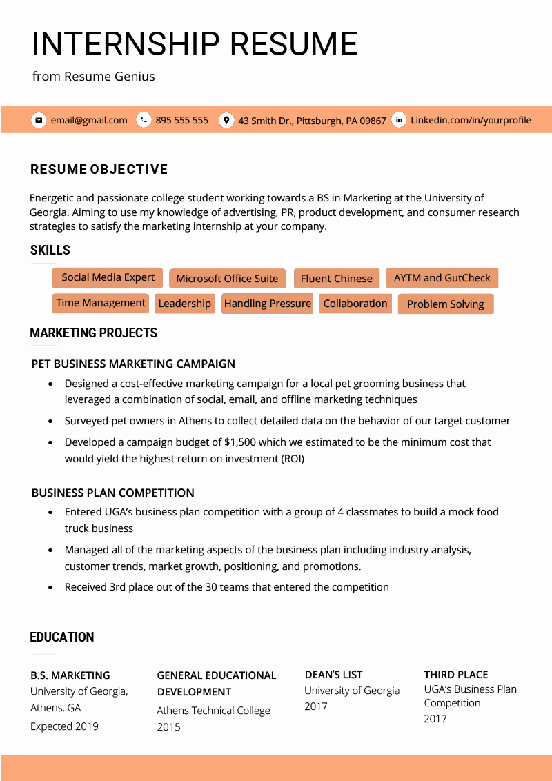 Resume Template College Student Luxury Internship Resume Samples & Writing Guide
