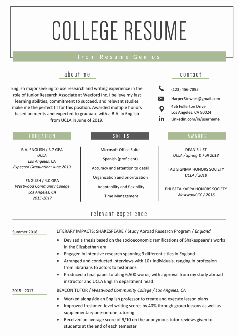 Resume Template College Student New College Student Resume Sample & Writing Tips